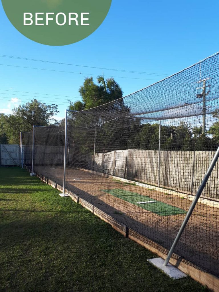 Outdoor lights batting cage before